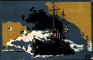 Künstler Ak Scholz, Adolf, Deutsches Kriegsschiff, Deutsches Rotes Kreuz, Kriegshilfe