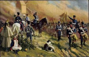 Künstler Ak Völkerschlacht 1813, General Bülow bei Dennewitz, Abels Schokolade