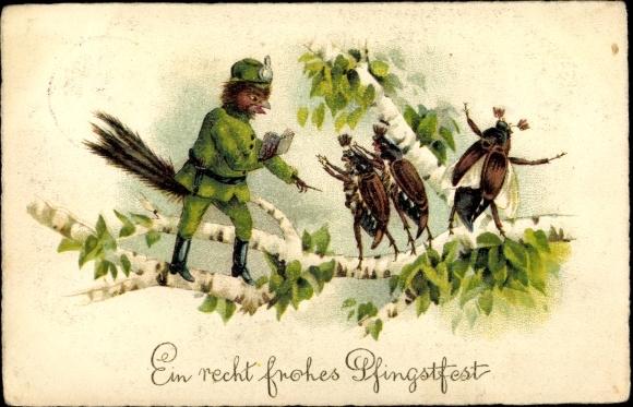 Litho Glückwunsch Pfingsten, Vogel, Maikäfer, vermenschlichte Tiere