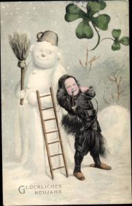 Ak Glückwunsch Neujahr, Schneemann, Schornsteinfeger, Kleeblätter