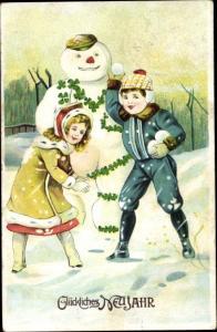 Ak Glückwunsch Neujahr, Schneemann, Kleeblätter, Junge, Mädchen