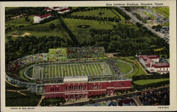Ak Houston Texas USA, Rice Institute Stadium, Fliegeraufnahme