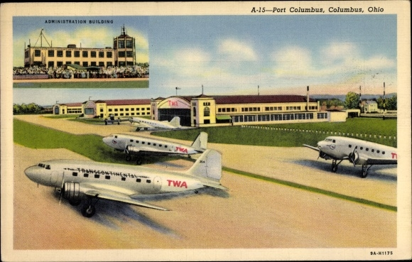Ak Columbus Ohio USA, Port Columbus Airport, Administration Building, TWA Transcontinental