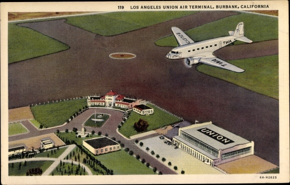 Ak Burbank Kalifornien USA, Los Angeles Union Air Terminal, TWA DC 2