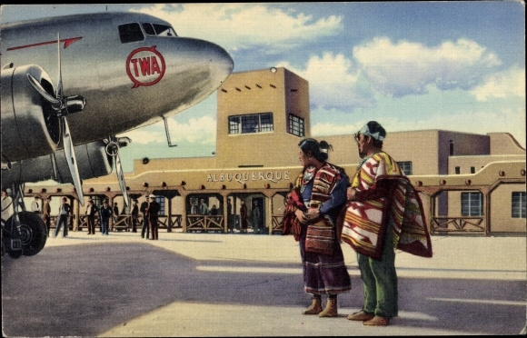 Ak Albuquerque New Mexico USA, Municipal Airport, TWA Stratoliner being inspected by Navajo Indians