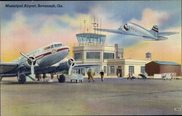 Ak Savannah Georgia USA, Municipal Airport, Delta Air Lines TWA DC 3 0