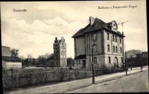 Ak Berlin Steglitz Südende, Rathaus, Feuerwehr Depot