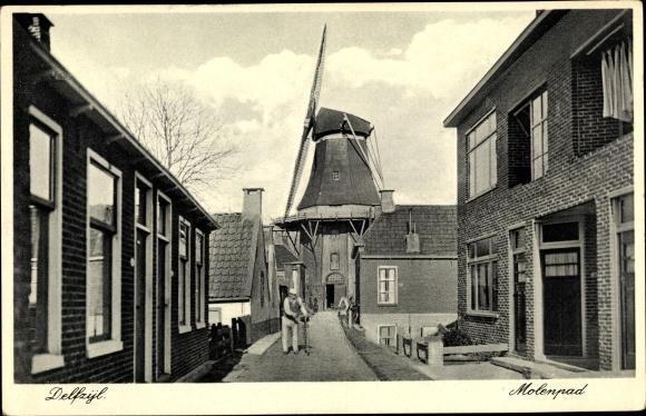 Ak Delfzijl Groningen Niederlande, Molenpad, Windmühle
