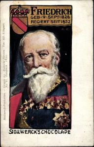 Künstler Ak Klingner, Albert, Stollwerck Schokolade, Gruppe 20, Friedrich I. von Baden, Wappen