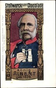 Künstler Ak Unger, A., Stollwerck Schokolade, König Albert von Sachsen, Fernglas