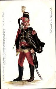 Künstler Ak Menzel, Adolph, Stollwerck Schokolade, Trompeter, Husaren Regiment No. 5