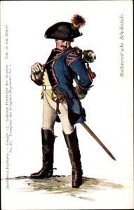 Künstler Ak Menzel, Adolph, Stollwerck Schokolade, Trompeter, Dragoner Regiment No. I