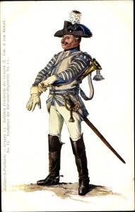 Künstler Ak Menzel, Adolph, Stollwerck Schokolade, Trompeter, Kürassier Regiment No. II