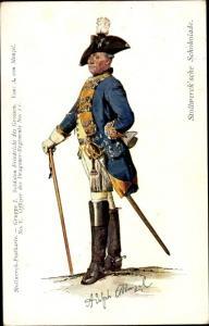 Künstler Ak Menzel, Adolph, Stollwerck Schokolade, Offizier, Dragoner Regiment No. II