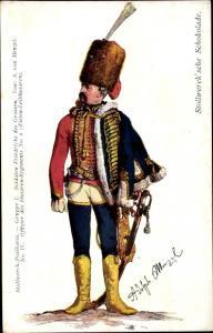 Künstler Ak Menzel, Adolph, Stollwerck Schokolade, Offizier, Husaren Regiment No. 2