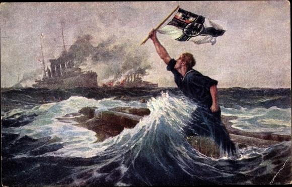 Künstler Ak Bohrdt, Hans, Der letzte Mann, Sinkender Matrose, Falklandinseln, 08. Dezember 1914