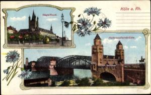 Ak Köln am Rhein, Stapelhaus, Hohenzollernbrücke