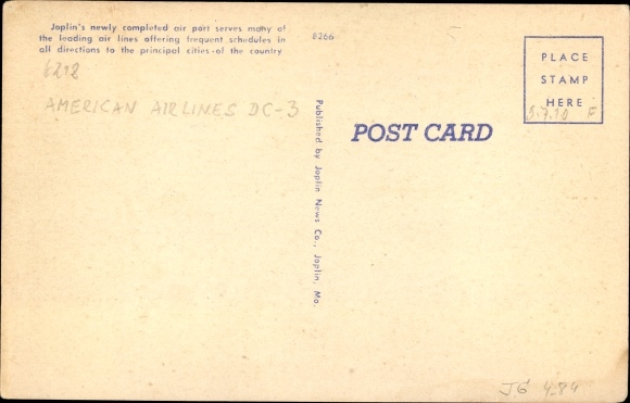 Ak Joplin Missouri, Municipal Airport, American Airlines DC 3 1