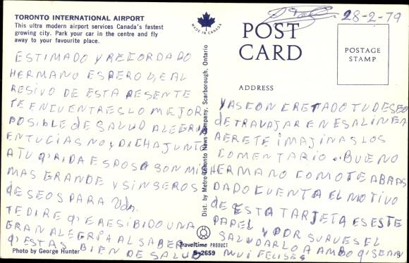 Ak Toronto Ontario Kanada, International Airport, Fughafen, Flugzeuge, Fliegeraufnahme 1