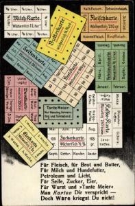 Ak Essensmarken, Kriegsnot, Gedicht, Fleischkarte, Milchkarte, Tante Meier