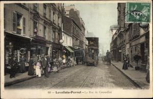 Ak Levallois Perret Hauts de Seine, La Rue de Courcelles