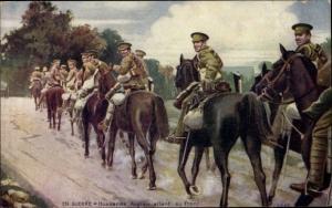 Künstler Ak Hussards Anglais allant au front, Britische Soldaten auf dem Weg zur Front