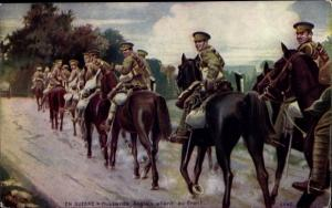 Künstler Ak Hussards Anglais allant au front, Englische Soldaten zu Pferd auf dem Weg zur Front