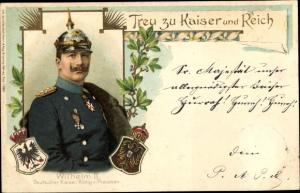 Präge Wappen Ak Kaiser Wilhelm II., Treu zu Kaiser und Reich