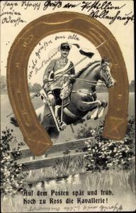 Präge Künstler Ak Hoch zu Ross die Kavallerie, Hufeisen