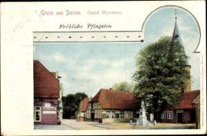Ak Dorum Wurster Nordseeküste Landkreis Cuxhaven, Denkmal, Gasthaus, Glückwunsch Pfingsten