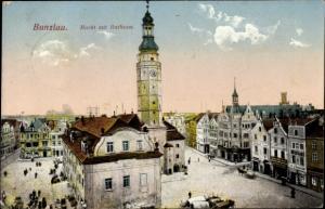 Ak Bolesławiec Bunzlau Schlesien, Markt, Rathaus