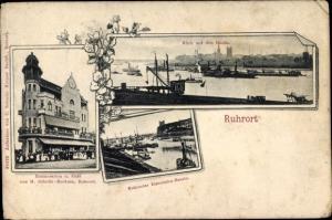 Ak Ruhrort Duisburg Nordrhein Westfalen, Restauration und Café, Eisenbahnbassin, Rheinpartie