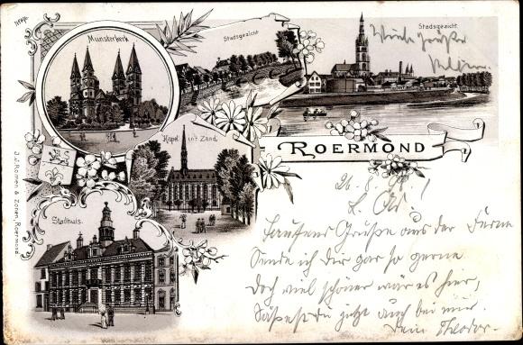 Litho Roermond Limburg Niederlande, Munsterkerk, Stadhuis