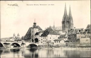 Ak Regensburg an der Donau Oberpfalz, Steinerne Brücke, Brückentor, Dom
