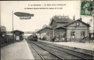 Ak La Garenne Hauts de Seine, La Gare, Clement Bayard, Zeppelin
