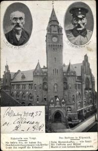 Ak Berlin Köpenick, Das Rathaus, Faksimile W. Voigt, als Schuster, als Hauptmann von Köpenick