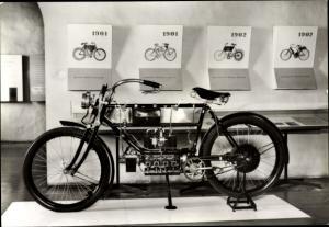 Ak Schloss Augustusburg im Erzgebirge, Zweitakt Motorrad Museum, FN Vierzylinder 1910