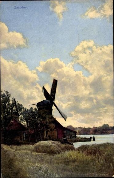 Ak Zaandam Zaanstad Nordholland, Windmühle