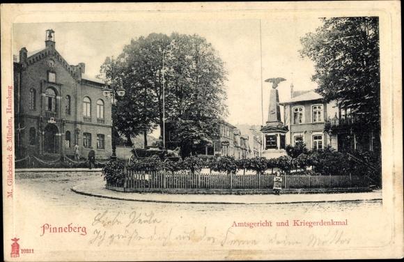 Ak Pinneberg in Schleswig Holstein, Amtsgericht und Kriegerdenkmal