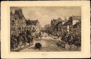 Künstler Ak Sowjetsk Tilsit Ostpreußen, Straßenpartie, Straßenbahn