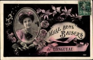 Ak Longueau Somme, Mille Bons Baisers, Frauenportrait