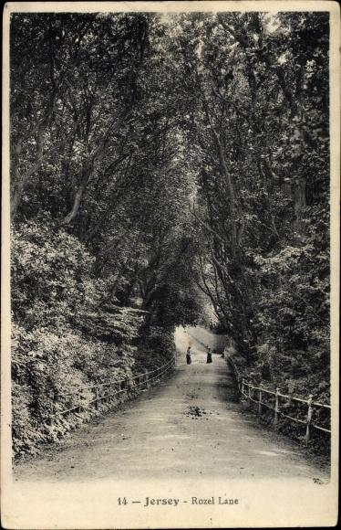 Ak Jersey Kanalinseln, Rozel Lane, Straßenpartie