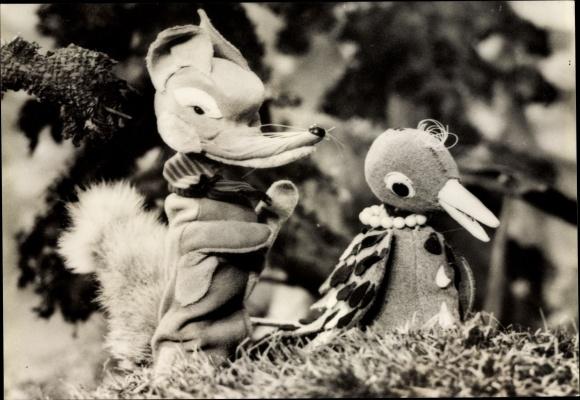 Ak Herr Fuchs und Frau Elster, DDR Kinderfernsehen
