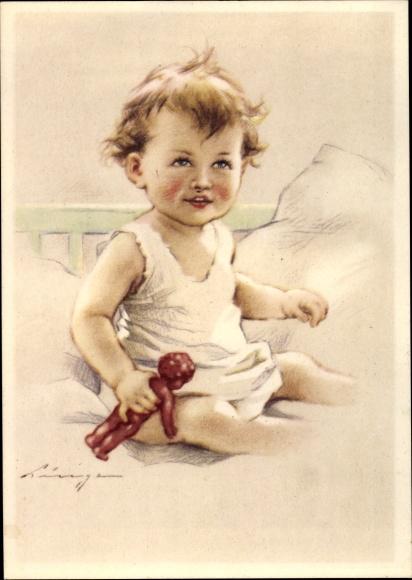 Künstler Ak Kleinkind im Kinderbett, Puppe, Kissen