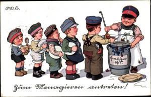 Künstler Ak Kaulbach, Hermann, Kinder in Uniformen, Essensausgabe