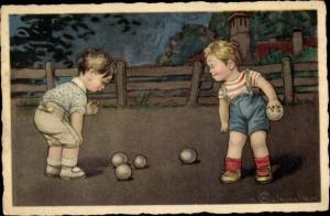 Künstler Ak Jungen spielen Boule