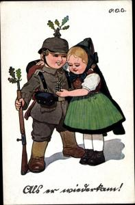 Künstler Ak Engelhard, P.O.E., Soldat in Uniform, Frau in hessischer Tracht