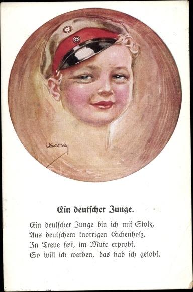 Künstler Ak USabal, Luis, Ein deutscher Junge, Kind in Uniform
