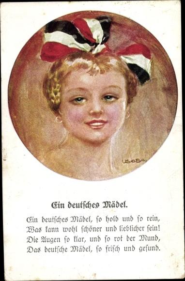 Künstler Ak Usabal, Luis, Ein deutsches Mädel, Mädchen, Haarschleife schwarz weiß rot