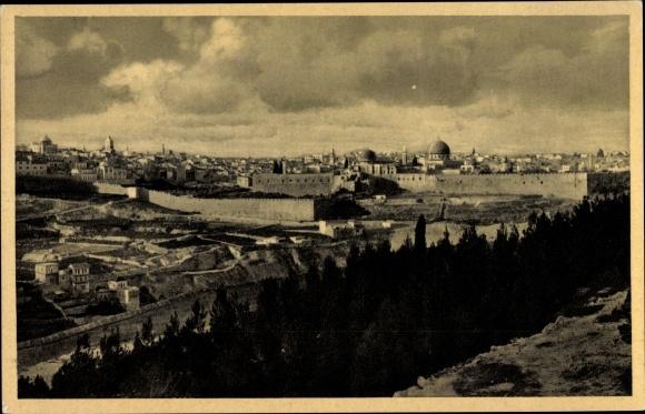 Ak Jerusalem Israel, Totale vom Oelberg aus gesehen